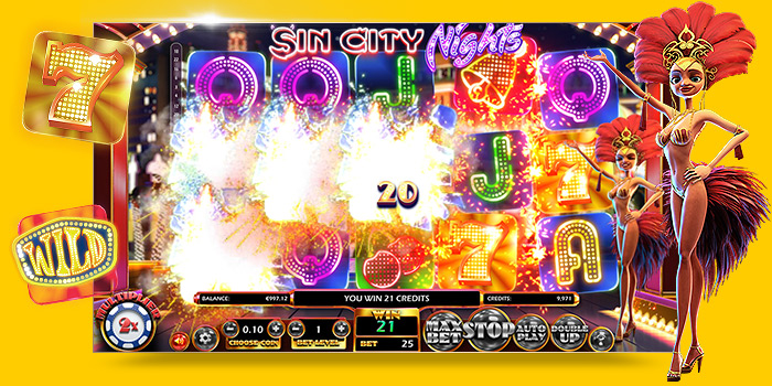 Machine à sous en ligne 3D Sin City Nights par Betsoft Gaming